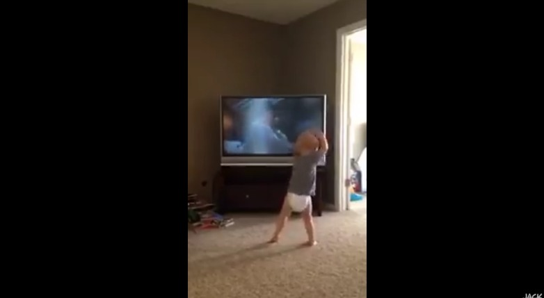 Little Boy Watches Rocky On The TV. Now Look Closely At His Hands… AMAZING